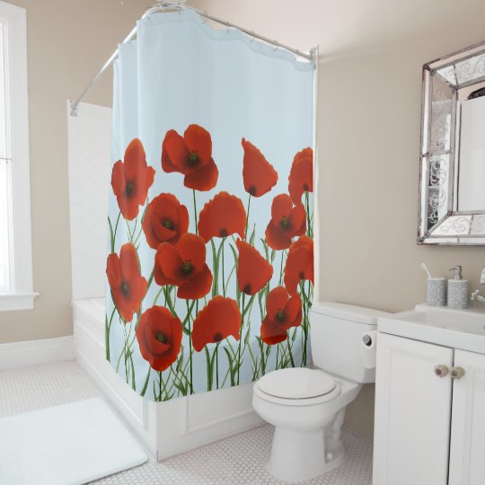 Floral Red Poppies Shower Curtain