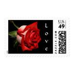 Floral Red Rose Flower Love Black Wedding Postage