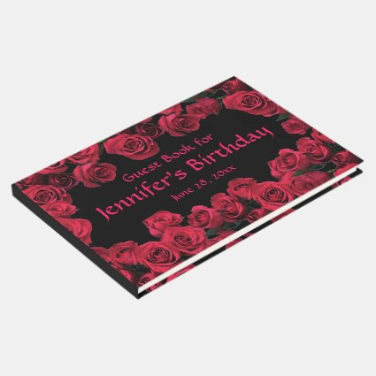 Floral Red Rose Flowers Birthday Party Guest Book