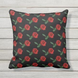 Floral Red Rose Garden Flower Outdoor Pillow
