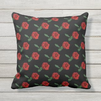 Floral Red Rose Garden Flower Outdoor Pillow