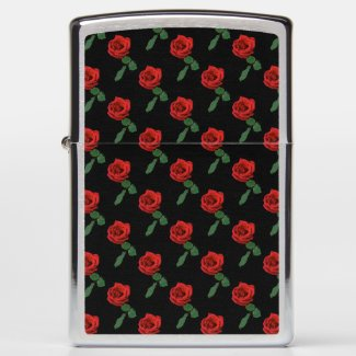 Floral Red Rose Garden Flower Zippo Lighter