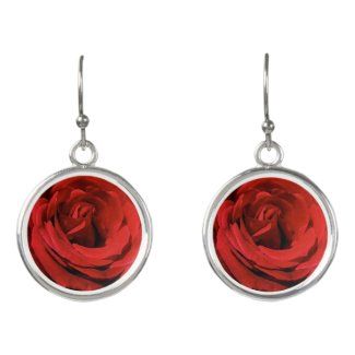 Floral Red Roses Garden Flowers Drop Earrings