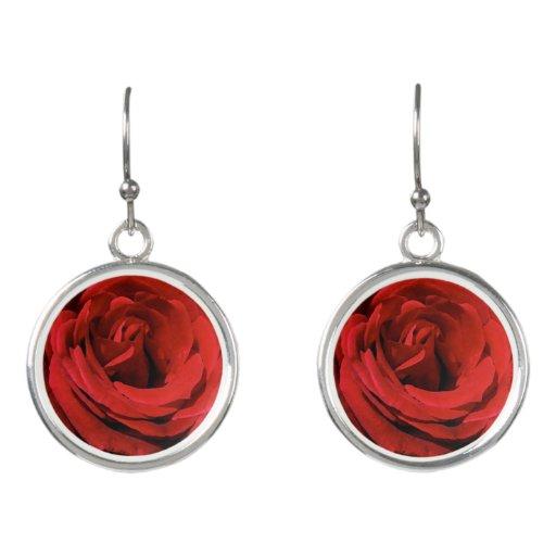 Floral Red Roses Garden Flowers Drop Earrings