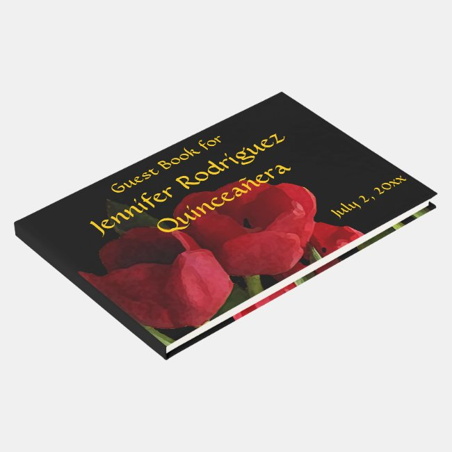 Floral Red Tulip Flowers Quinceañera Guest Book