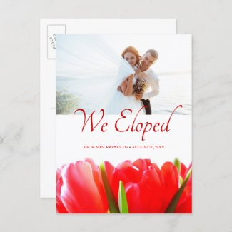 Floral Red Tulips Photo Elopement Wedding Announcement Postcard
