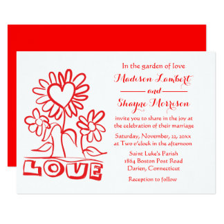 Floral Red Wedding Love Flowers & Hearts Card