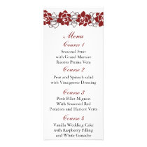 floral red Wedding menu
