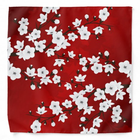 Floral Red White Cherry Blossom Bandana
