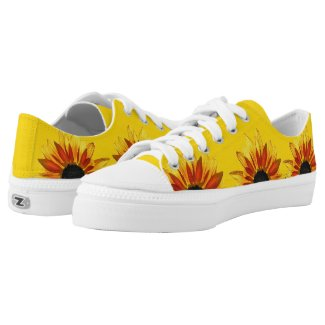 Floral Red Yellow Sunflower Flowers Printed Shoes