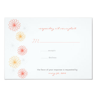 Floral Reflections Wedding Response Card Announcement