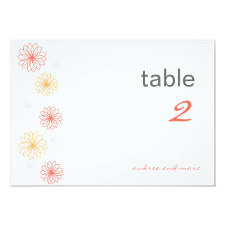 Floral Reflectios Table Number Cards Personalized Announcement