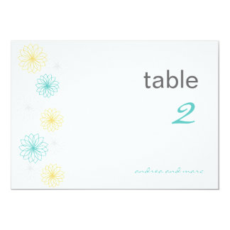 Floral Reflectios Table Number Cards Custom Invitation