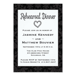 Floral Rehearsal Dinner Black And Gray Damask Card