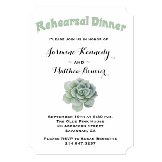 Floral Rehearsal Dinner Green Succulent Cactus Card