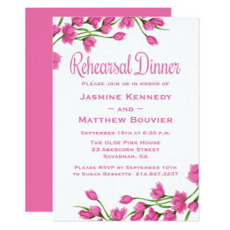 Floral Rehearsal Dinner Pink And White Flowers Card