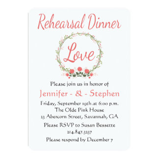 Floral Rehearsal Dinner Rose Wreath Pink Red Love Card