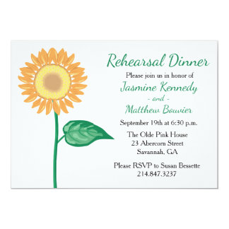 Floral Rehearsal Dinner Sunflower Yellow Flowers Card