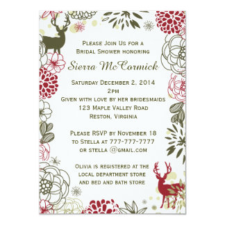 Floral Reindeer Christmas Bridal Shower Invitation