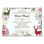 "Floral Reindeer Christmas Bridal Shower Invitation 4.5"" X 6.25"" Invitation Card"