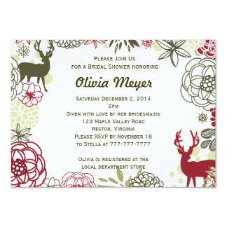 Floral Reindeer Christmas Bridal Shower Invitation