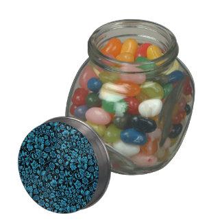 Floral reluciente azul de la ensenada en negro jarras de cristal