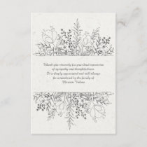 Floral Remembrance Bereavement Thank You Cards