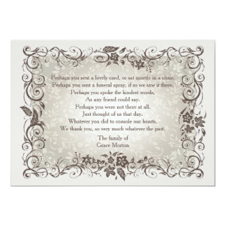 Floral Remembrance Bereavement Thank You Notecard Personalized Announcement