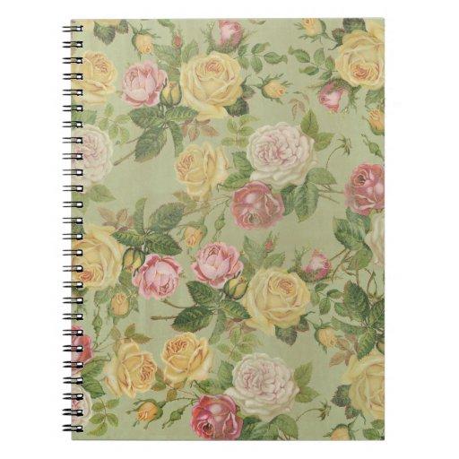 Floral resistida país del vintage libreta espiral