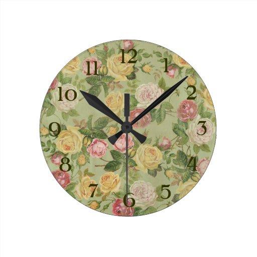 Floral resistida país del vintage relojes de pared