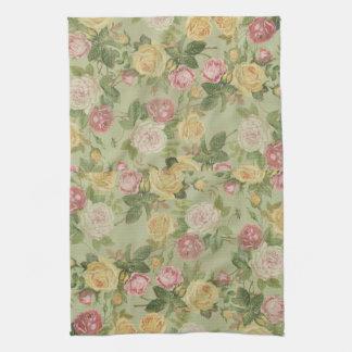 Floral resistida país del vintage toalla de cocina