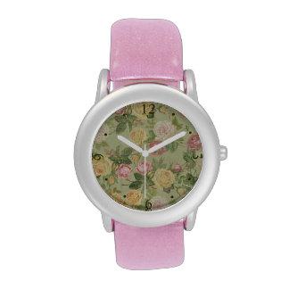 Floral resistida país del vintage relojes
