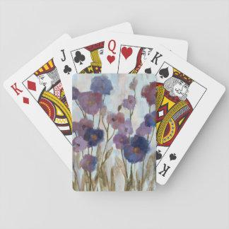 Floral resumida en púrpura barajas de cartas