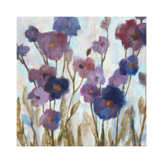 Floral resumida en púrpura impresiones en lona