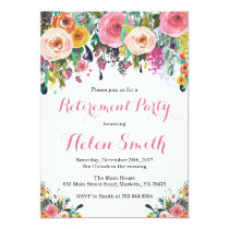 Floral Retirement Party Invitation Card