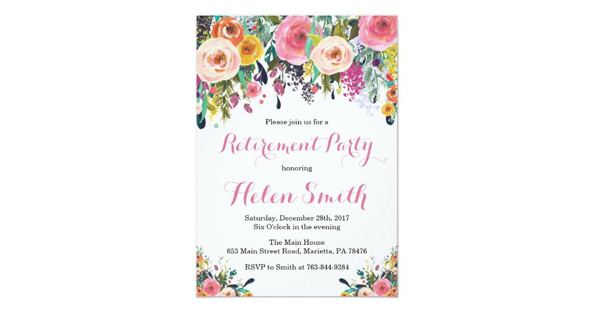 Floral Retirement Party Invitation Card Zazzle Com