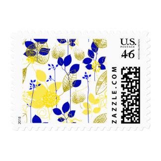 Floral retro amarillo lindos y azul