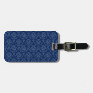 Floral retro azul marino etiqueta para equipaje