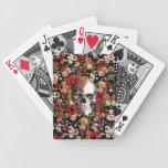 Floral retro con el modelo del cráneo cartas de juego
