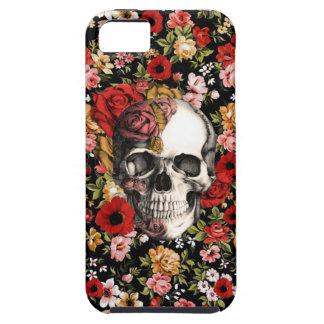 Floral retro con el modelo del cráneo iPhone 5 funda