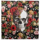 Floral retro con el modelo del cráneo servilleta imprimida