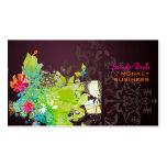 Floral retro de PixDezines + merlot Tarjetas De Visita
