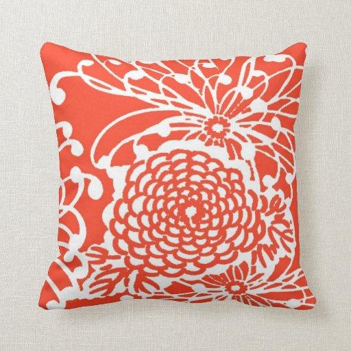 Floral retro del tango de la mandarina almohadas