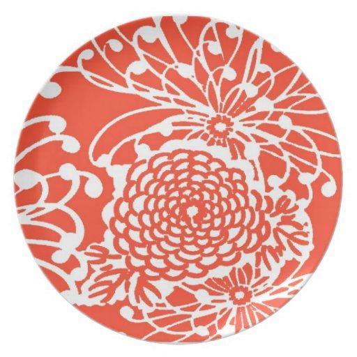 Floral retro del tango de la mandarina plato
