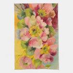 floral retro del vintage de la cocina de los años  toallas de mano
