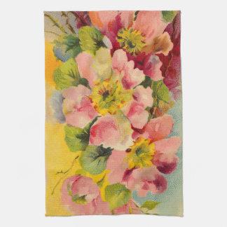 floral retro del vintage de la cocina de los años  toalla de mano