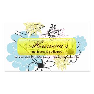 Floral retro en colores pastel de la aguamarina am tarjeta personal