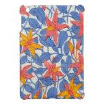 Floral retro femenino azul y coralino del vintage  iPad mini cárcasa