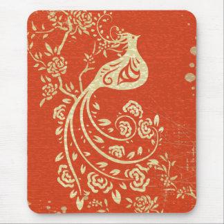 Floral retro femenino del oro de la multa alfombrillas de ratón