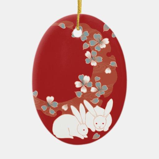 Floral retro femenino fresco lindo japonés fino adorno navideño ovalado de cerámica